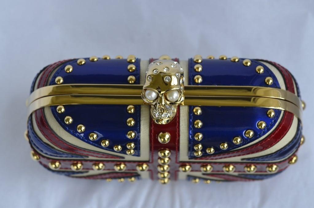 Alexander Mcqueen Patent Leather Britannia Skull Box Clutch image 3
