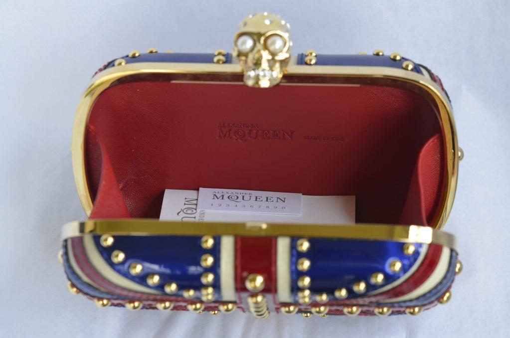 Alexander Mcqueen Patent Leather Britannia Skull Box Clutch image 4