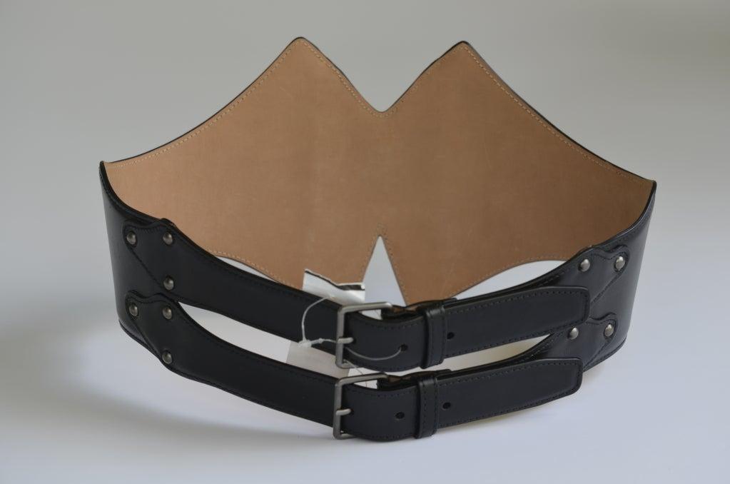 azzedine alaia black leather corset belt fr 80 nwt at 1stdibs