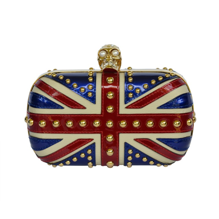 Alexander Mcqueen Patent Leather Britannia Skull Box Clutch