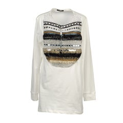 BALMAIN  SWAROVSKI CRYSTALS EMBELLISHED COTTON TOP SHIRT