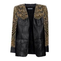 BALMAIN Embellished leather jacket NWT