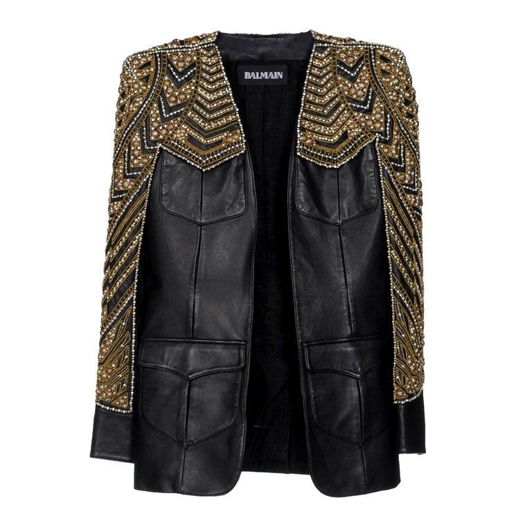 BALMAIN Embellished leather jacket NWT 1