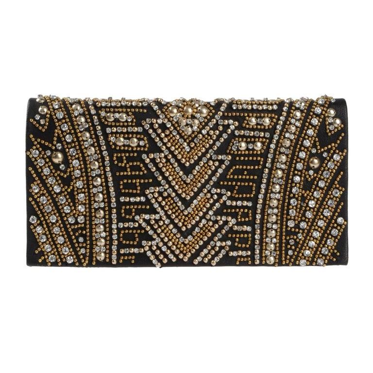Balmain Leather Jewel Embellishment  Clutch 1