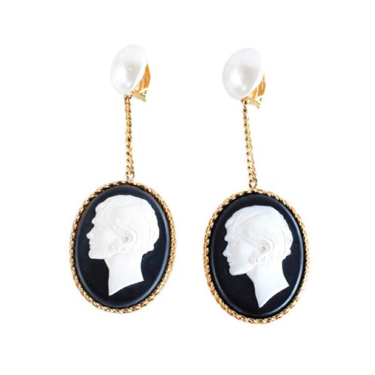 chanel cameo dangle earrings at 1stdibs