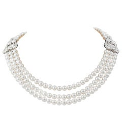 Cultured Pearl and Diamond double clip  Necklace