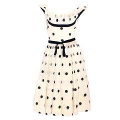 1950's Ceil Chapman Polka Dot Cocktail Dress