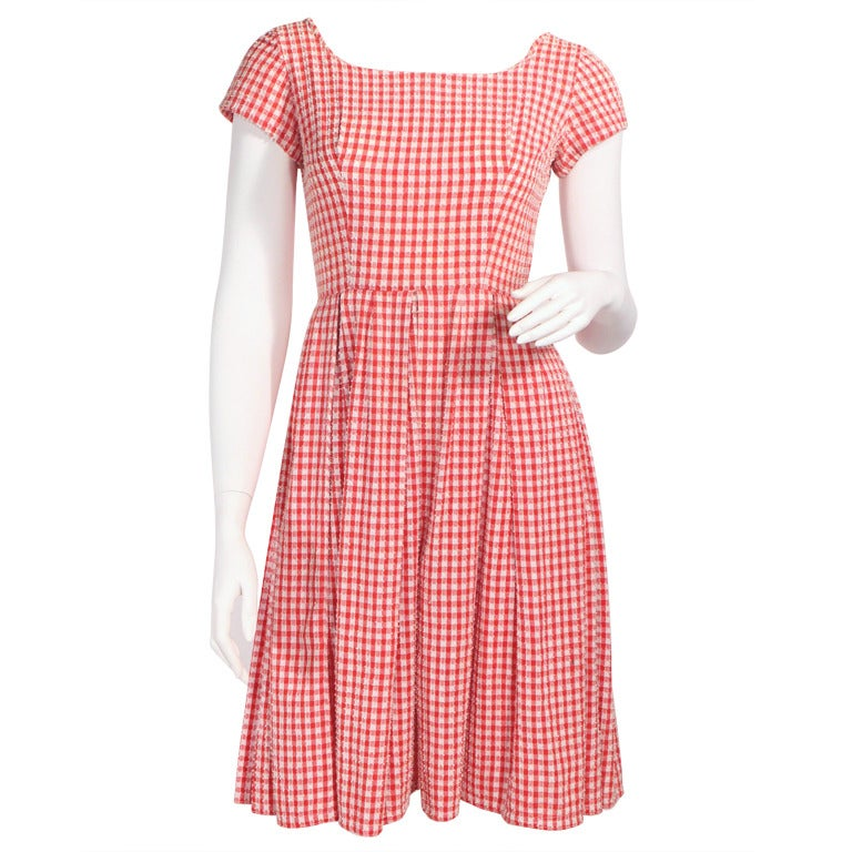 1950 S Red Gingham Dress