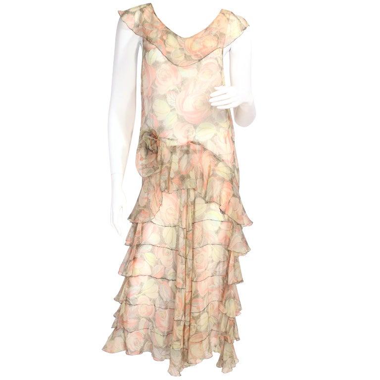 1920's Floral Flapper Dress at 1stdibs