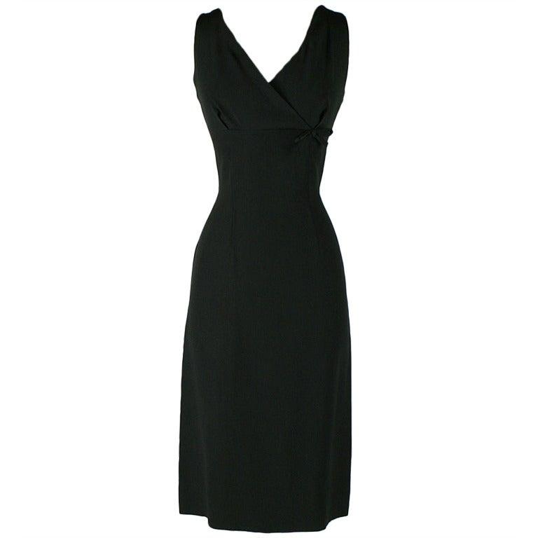 Vintage 1950's Pierre Balmain Black Silk Cocktail Dress