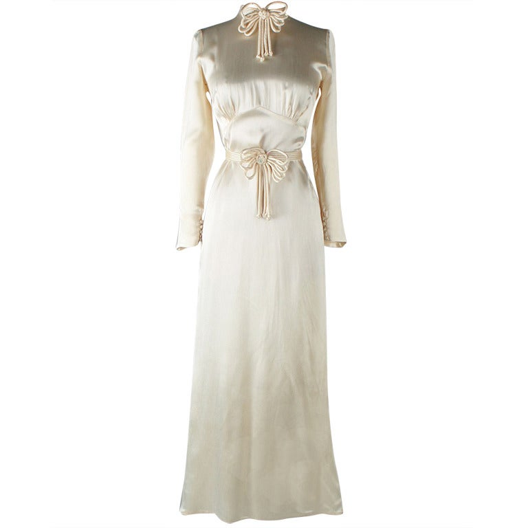 Vintage 1930's Ivory Silk Satin Wedding Dress