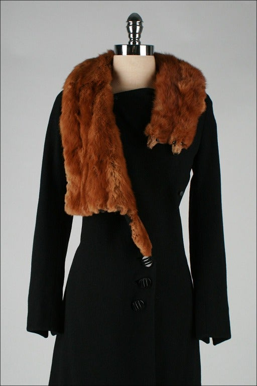 Vintage 1930 S Black Wool Mink Fur Wrap Collar Coat At 1stdibs