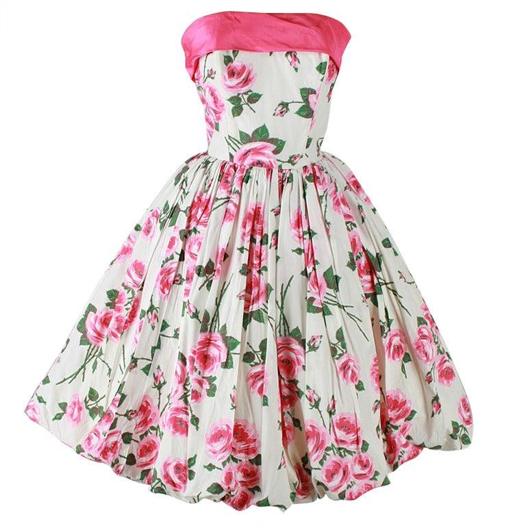 Vintage 1950 S Pink Roses White Bubble Hem Strapless Dress