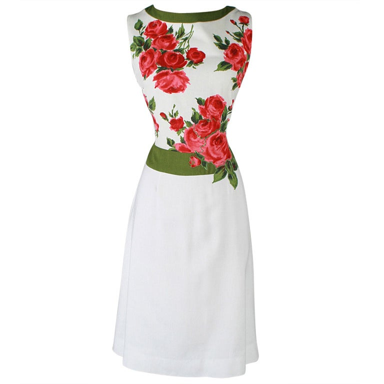 The Deco Stylist Tagged 1960 S Fashion The Deco Haus: Vintage 1960's Rose Print Linen Cocktail Dress At 1stdibs
