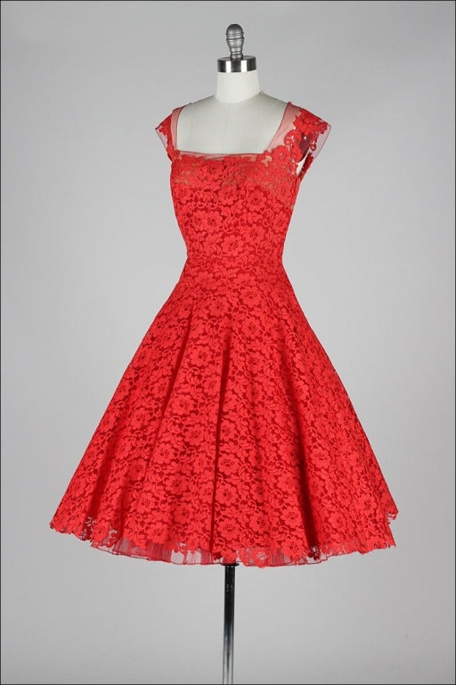 vintage 1950 s peggy hunt cherry lace dress at 1stdibs