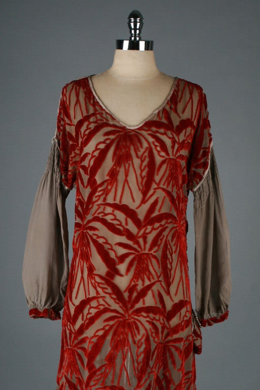 1920's Garnet Red Silk Velvet Burnout Flapper Dress image 2