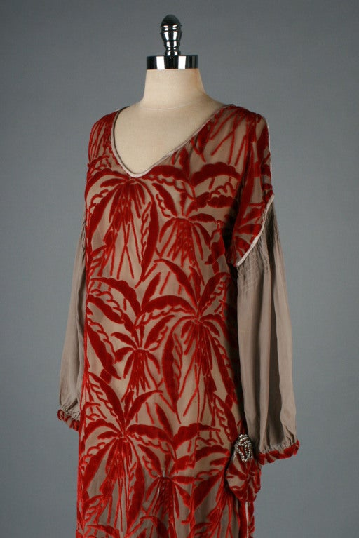 1920's Garnet Red Silk Velvet Burnout Flapper Dress image 4