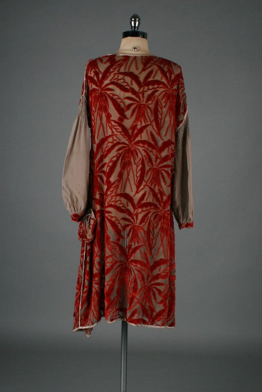 1920's Garnet Red Silk Velvet Burnout Flapper Dress image 6