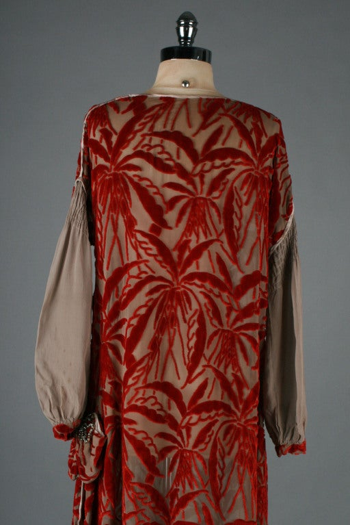 1920's Garnet Red Silk Velvet Burnout Flapper Dress image 7
