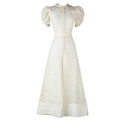 Vintage 1930's Ivory Battenburg Lace Wedding Gown