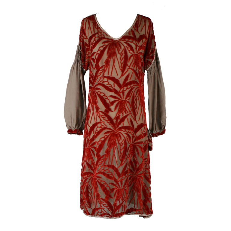 1920's Garnet Red Silk Velvet Burnout Flapper Dress