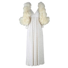 1960's Mollie Parnis Maxi Dress Turkey Feather Cape