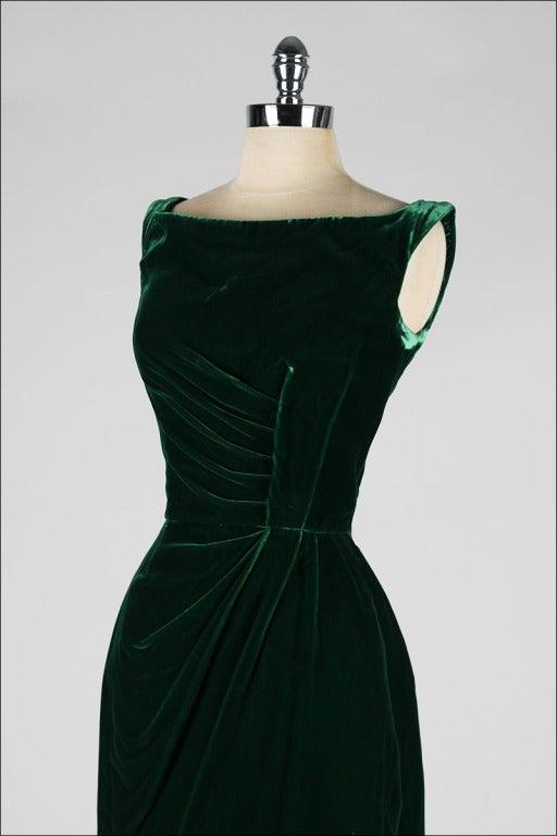 Vintage 1950 S Ceil Chapman Emerald Green Silk Velvet