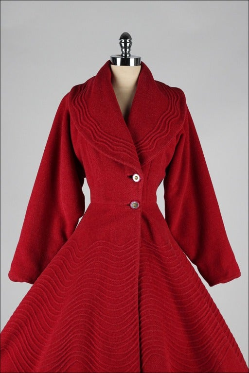 Vintage 1950's Red Wool Fit and Flare Princess Coat at 1stdibs