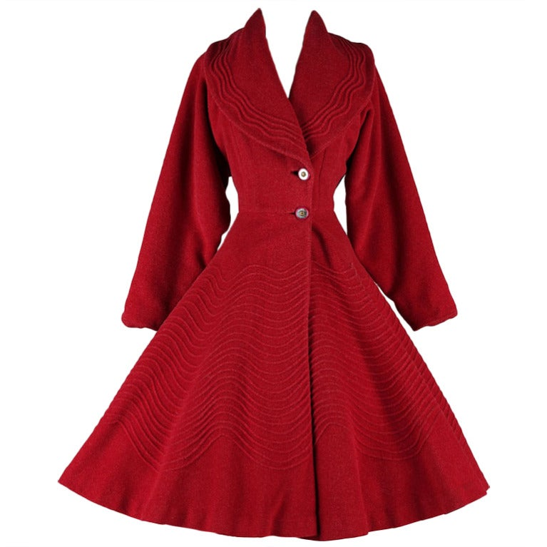 Vintage 1950 S Red Wool Fit And Flare Princess Coat At 1stdibs