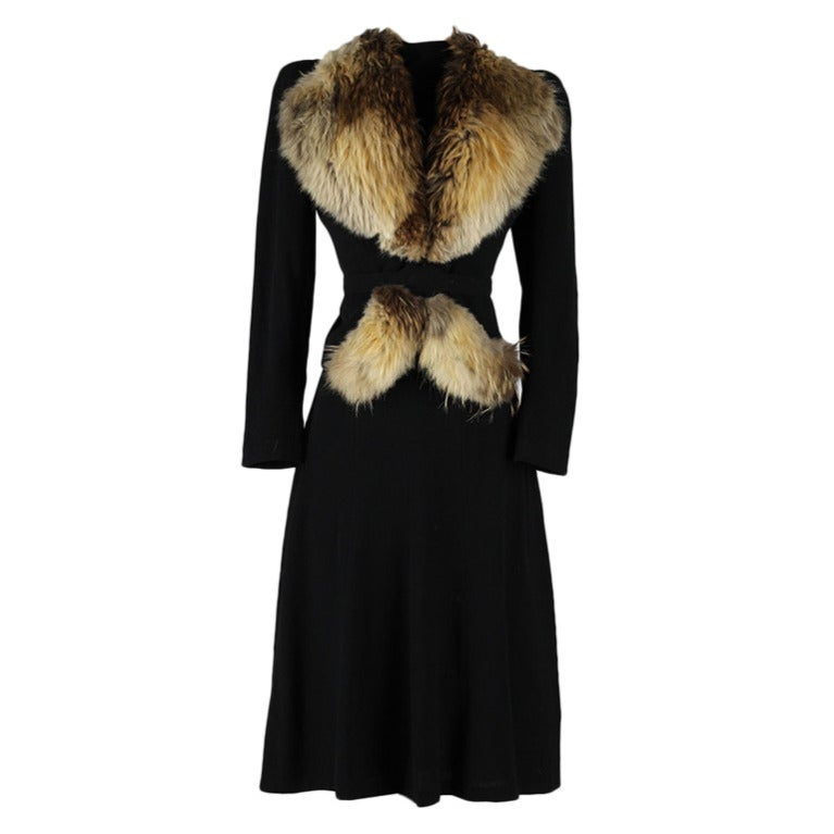 Vintage 1940S Wool And Fur Trimmed Jacket And Dress At -7176