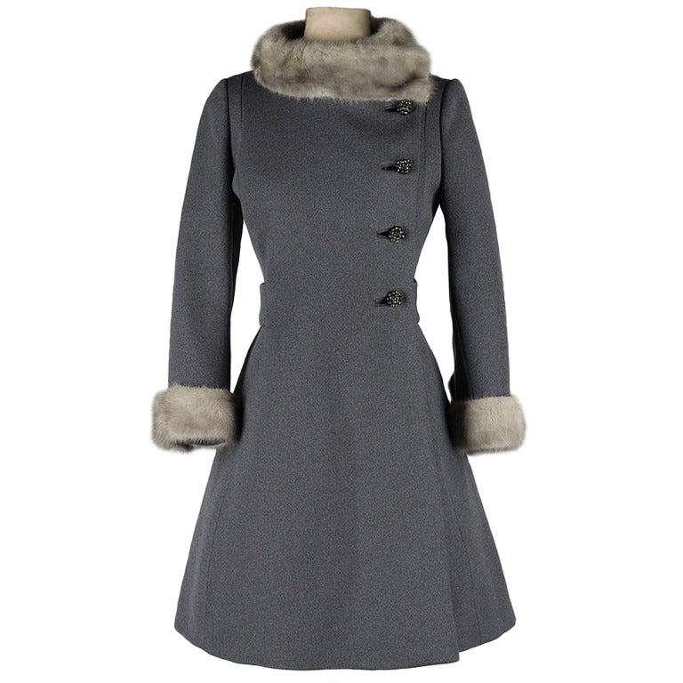 Vintage 1960 S Gray Wool Mink Trimmed Coat At 1stdibs