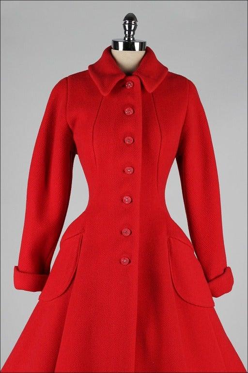 Vintage 1950's Red Wool Rhinestone Button Princess Coat image 2