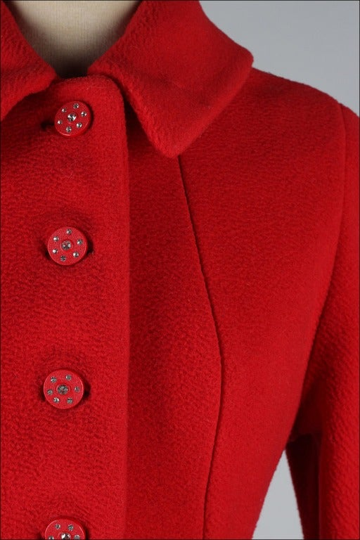 Vintage 1950's Red Wool Rhinestone Button Princess Coat image 3