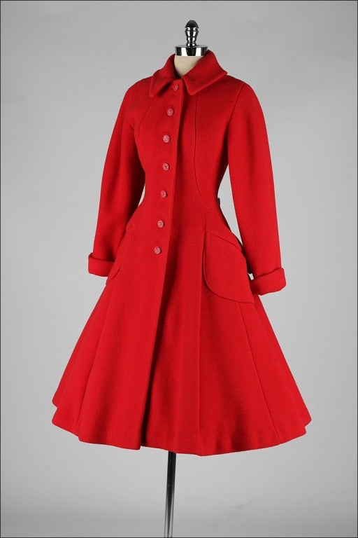 Vintage 1950's Red Wool Rhinestone Button Princess Coat image 5