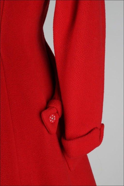 Vintage 1950's Red Wool Rhinestone Button Princess Coat image 6
