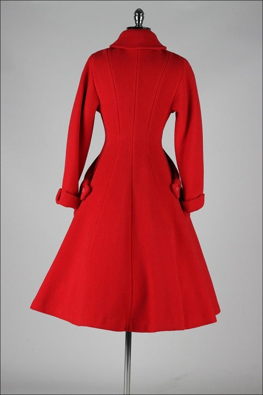 Vintage 1950's Red Wool Rhinestone Button Princess Coat image 7