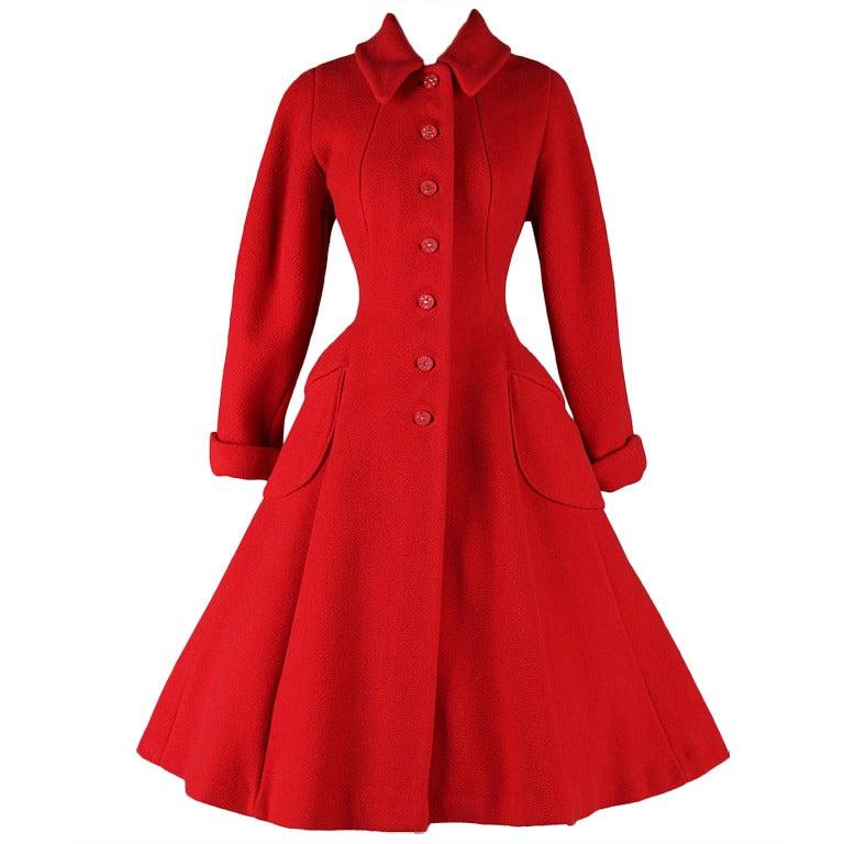Vintage 1950's Red Wool Rhinestone Button Princess Coat