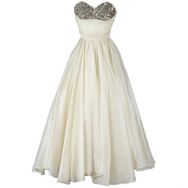 Vintage 1950 39 s emma domb ivory organza sequins dress at for Costume jewelry for evening gowns