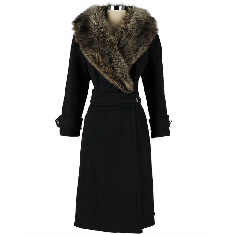 Vintage 1960 S Black Wool Coyote Fur Collar Coat At 1stdibs