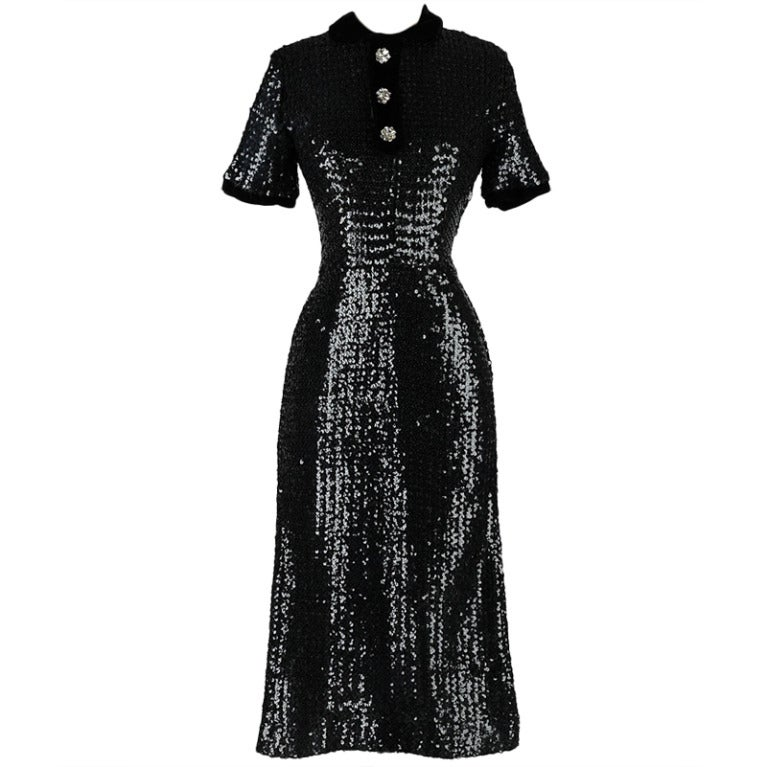 Vintage 1950 S Black Sequins Rhinestone Button Dress At