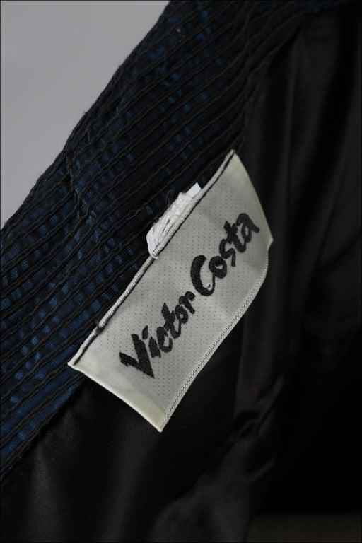 Vintage 1980's Victor Costa Teal Taffeta Dress and Jacket image 10