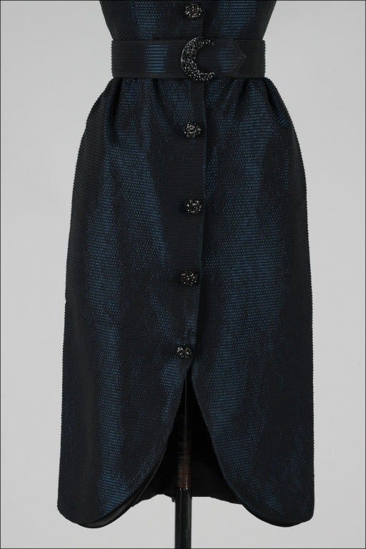 Vintage 1980's Victor Costa Teal Taffeta Dress and Jacket image 4