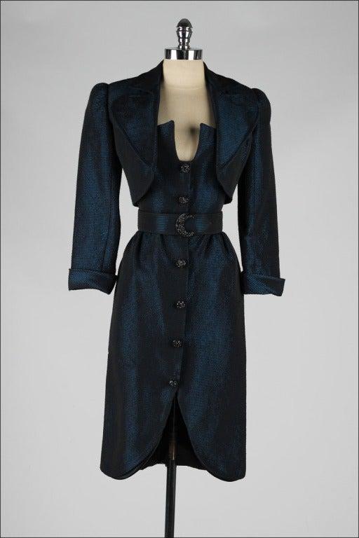 Vintage 1980's Victor Costa Teal Taffeta Dress and Jacket image 5