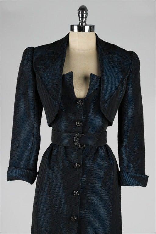 Vintage 1980's Victor Costa Teal Taffeta Dress and Jacket image 6