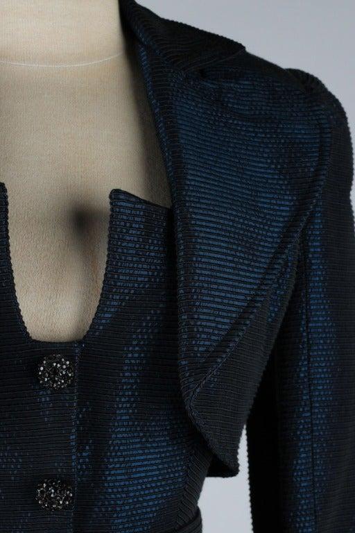 Vintage 1980's Victor Costa Teal Taffeta Dress and Jacket image 7