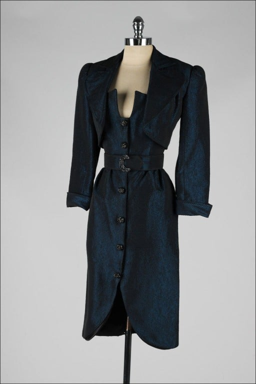 Vintage 1980's Victor Costa Teal Taffeta Dress and Jacket image 8