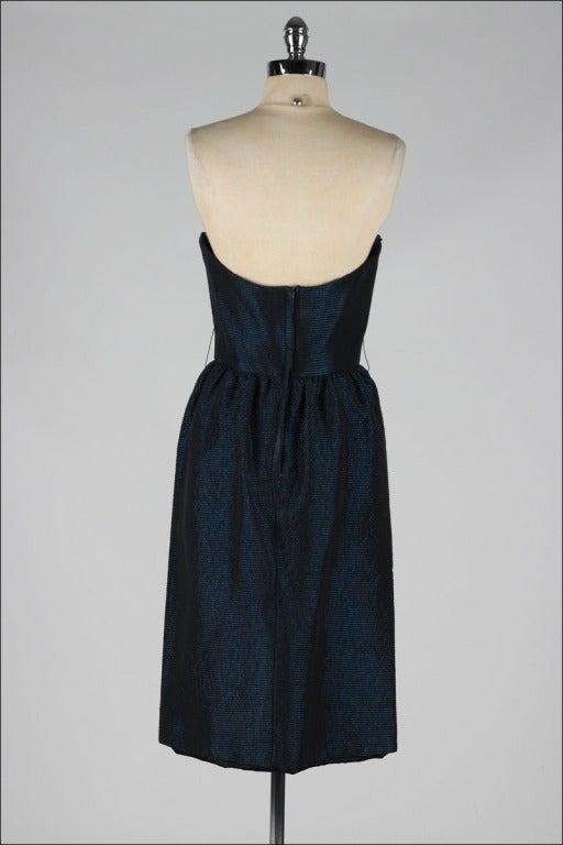 Vintage 1980's Victor Costa Teal Taffeta Dress and Jacket image 9