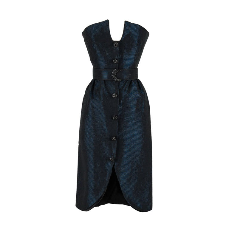 Vintage 1980's Victor Costa Teal Taffeta Dress and Jacket