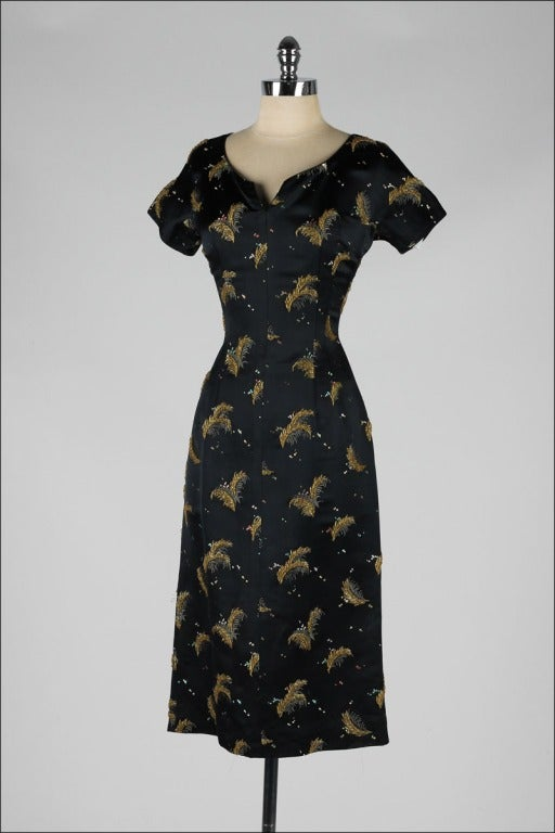 vintage 1950 s black satin gold beaded feathers cocktail