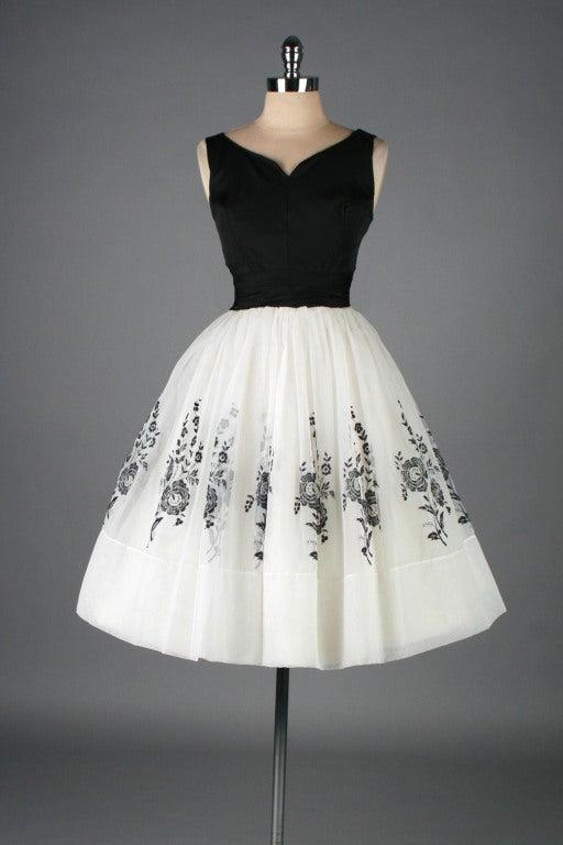 Vintage 1950's White Chiffon Flocked Floral Cocktail Dress image 2